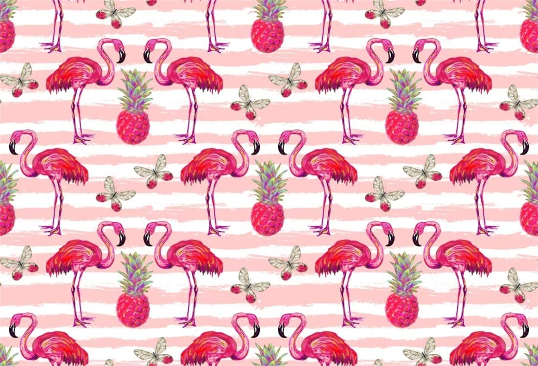 Yeele 10x8ft Flamingo Photography Background Tile Mode Anime Tropical Fruit Butterfly Pineapple Painting Red and White Stripe Summer Party Photo Backdrops Portrait Shooting Studio Props