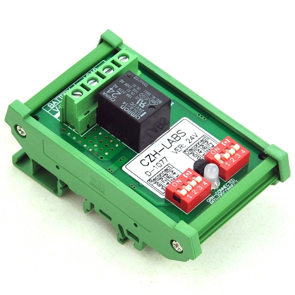 Electronics-Salon DIN Rail Mount LVD Low Voltage Disconnect Module, 24V 10A, Protect Battery.