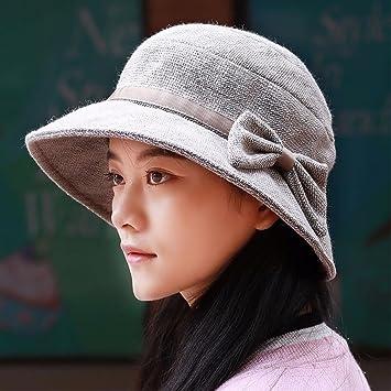 16c300545d15e SAIBANGZI Mujer Sombrero Cuenca Más Grueso Sombrero Sombrero Pescador  Hembra Artista Ocio Hat Fashion Mom Hat Sombrilla Térmica Sombrero Gris.