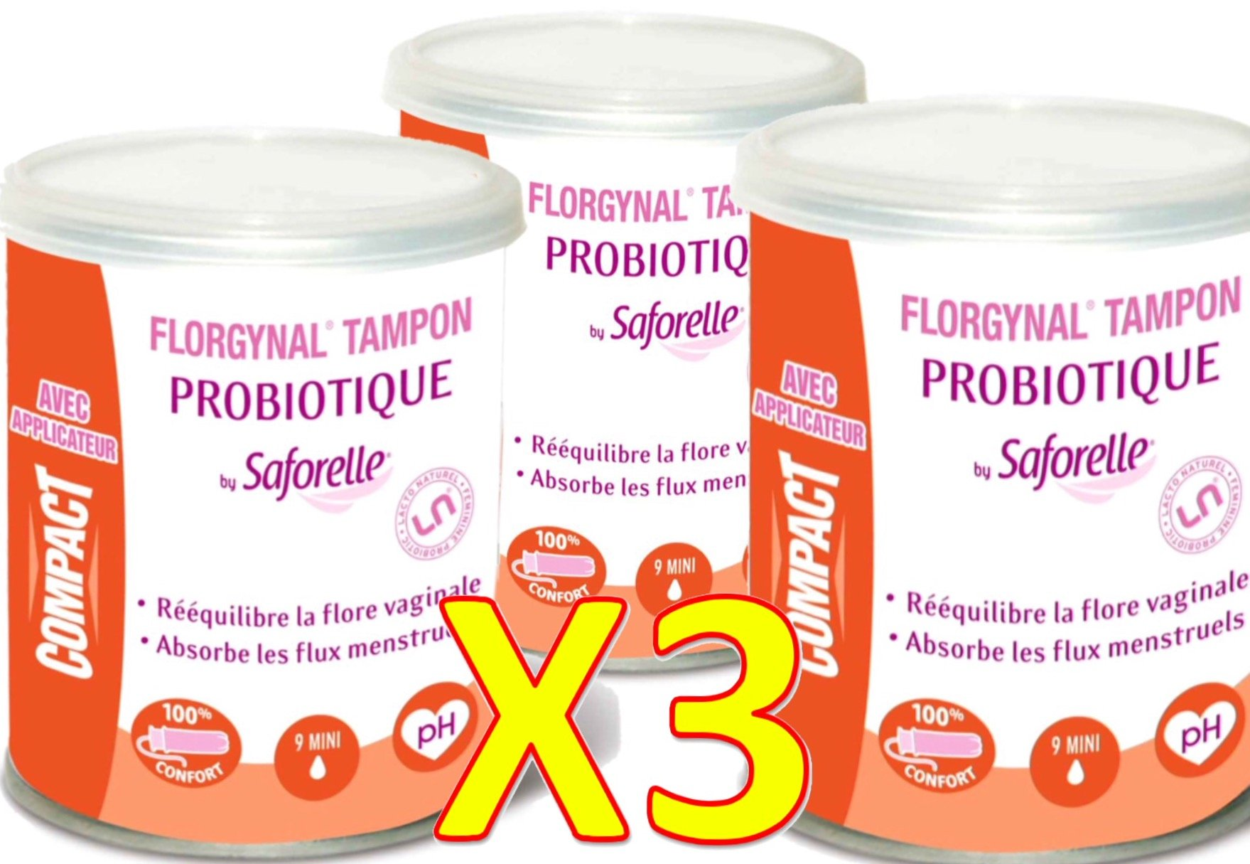 Saforelle Florgynal Probiotic Tampon Regular-with applicator-Mini-Box of 9Mini-Set of 3boxes) by Saforelle