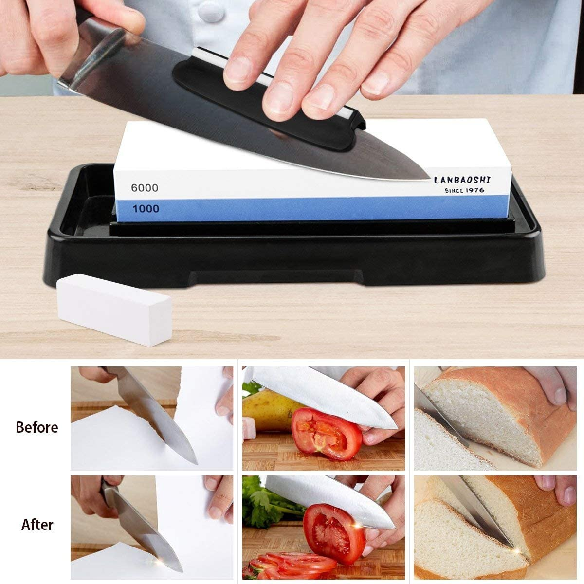 Knife Sharpening Stone, Whetstone Dual Sided 1000/6000 Grit Waterstone with Angle Guide Non Slip Rub