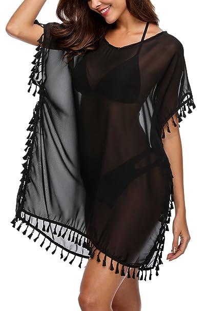 a7f733bc2d Sociala Women's Black Swimsuit Cover Up Chiffon Tassel Bathing Suit Cover  Ups
