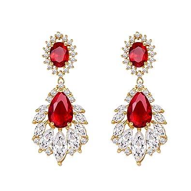 db35b0cd16e Earrings Set for Woman 18K Gold Plated Red Crystal Teardrop Drop Dangle  Earrings Fashoion Jewelry Gifts