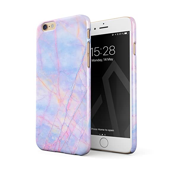 best website 65fa2 7a78b BURGA Phone Case Compatible with iPhone 6 Plus / 6s Plus, Cotton Candy  Marble Holographic Iridescent Colorful Unicorn Marble Thin Design Durable  Hard ...