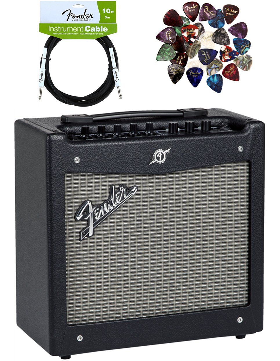 Fender Mustang I Guitar Amplifier Bundle with Instrument Cable, Pick Sampler, and Austin Bazaar Polishing Cloth