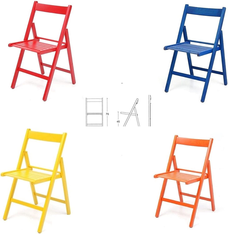 buiani 4 sedie Colorate Pieghevole Sedia in Legno Verniciato richiudibile per Campeggio casa e Giardino (Rosso,Blu,Giallo,Arancione,)