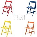 4 sedie COLORATE pieghevole sedia in legno verniciato richiudibile per campeggio casa e giardino (ROSSO,BLU,GIALLO,ARANCIONE)