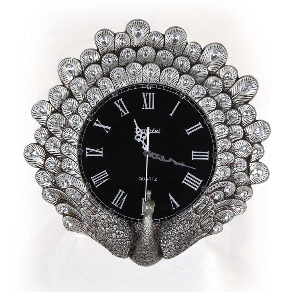 ヨーロッパスタイルの時計と時計クリエイティブな孔雀の壁時計ファッションリビングルーム大きな時計創造的なダイヤモンドの壁時計ミュートの壁時計 (Color : Silver) B07D5QJ6L8 Silver Silver