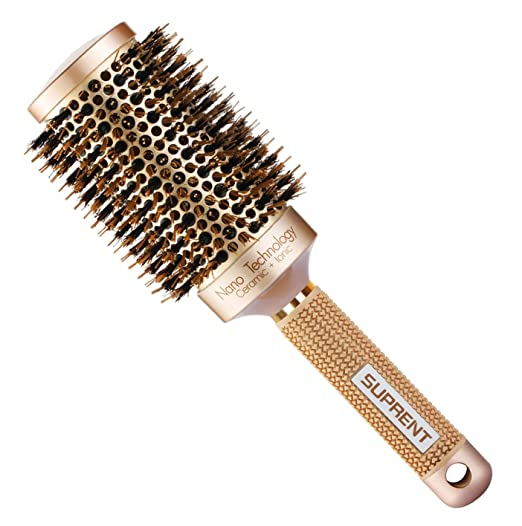 "SUPRENT Blowout Nano Thermic Ceramic & Ionic Round Barrel Hair Brush with Boar Bristle, Best Roller Hairbrush for Blow Drying, Curling&Straightening, Volume&Shine (3.3"" & Barrel 2"") best hairbrush"