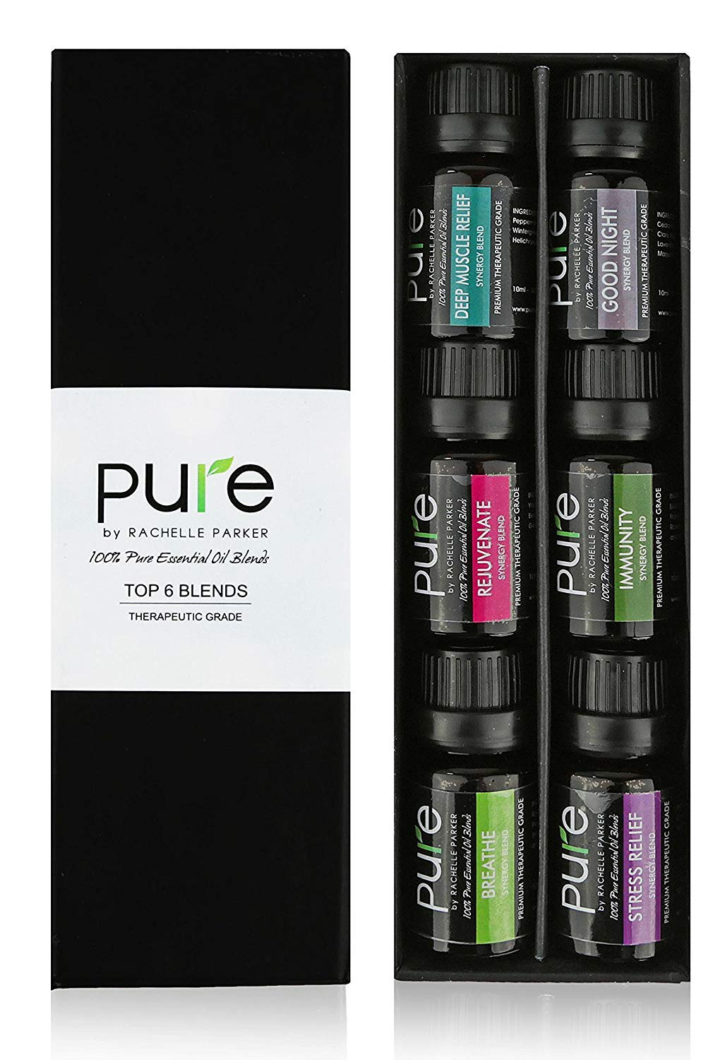 PURE Essential Oil Blends.Gift pack 6 Synergy Blend Set. Synergy Essential Oil Blend Beginner Starter Set Includes Good Night, Muscle Relief,Rejuvenate, Immunity, Breath & Stress Relief Oil Blends…
