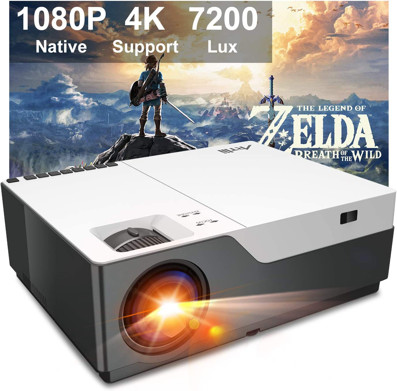 Projector, Artlii Stone Full HD 1080P budget Projector for gaming