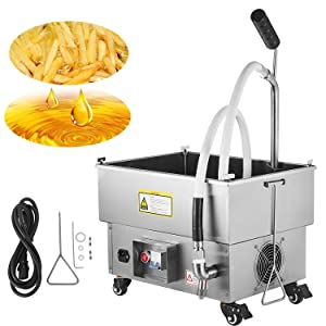 VEVOR Mobile Fryer Filter 44LB. Capacity Oil Filtration System 300W Fryer Filter Frying Oil Filtering System 110v/60Hz (Oil Capacity 22L/5.8 Gallon)