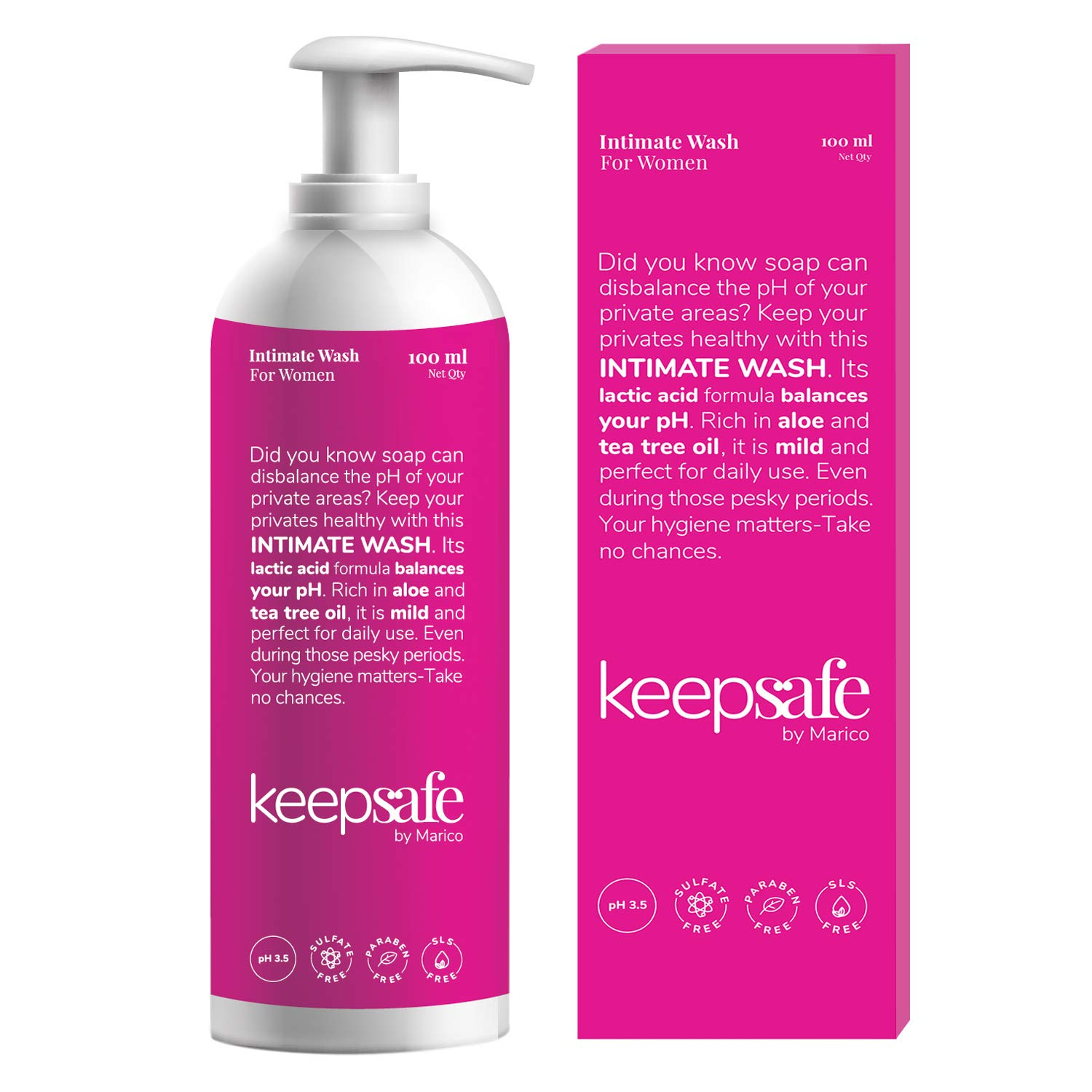 KeepSafe by Marico Intimate Wash for Women, Rich in Aloe & Tea Tree Oil, Healthy Intimate Hygiene, Anti-bacterial, Anti-fungal, No Sulphate, No Paraben, Travel-Friendly Pack, 100 ml