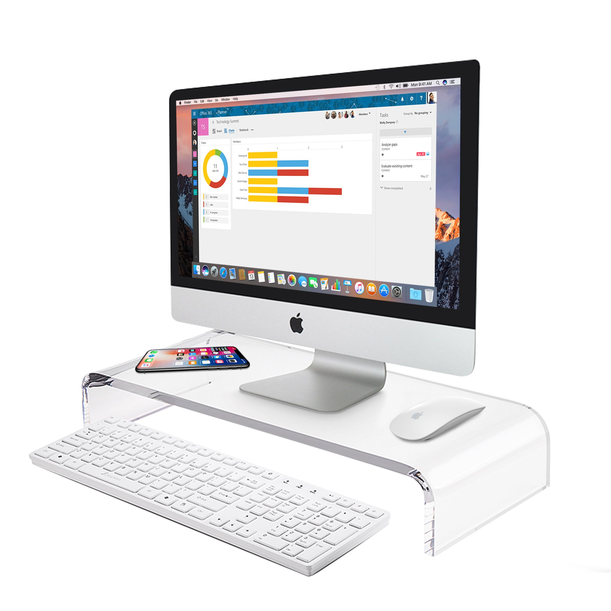 AboveTEK Premium Acrylic Monitor Stand, Custom Size Monitor Riser/Computer Stand for Home Office Business w/Sturdy Platform, PC Desk Stand for Keyboard Storage & Multi-Media Laptop Printer TV Screen by AboveTEK