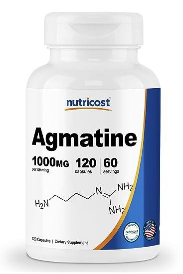 Nutricost Agmatine Sulfate 1000mg, 120 Capsules - Gluten Free, Non GMO,  500mg Per Capsule