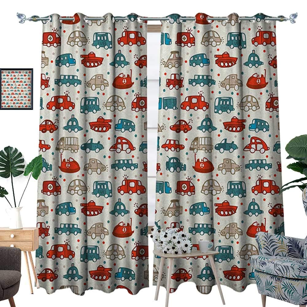Warm Family Cars Room Darkening Wide Curtains Cheerful Baby Boy Play Things in Kids Doodle Style with Many Different Vehicles Customized Curtains W72 x L96 Teal Scarlet Tan