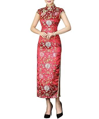 Lang Mit Xuexian Blumen Rot tmDamen Kleid Qipao Chinesisch hrsdtQ