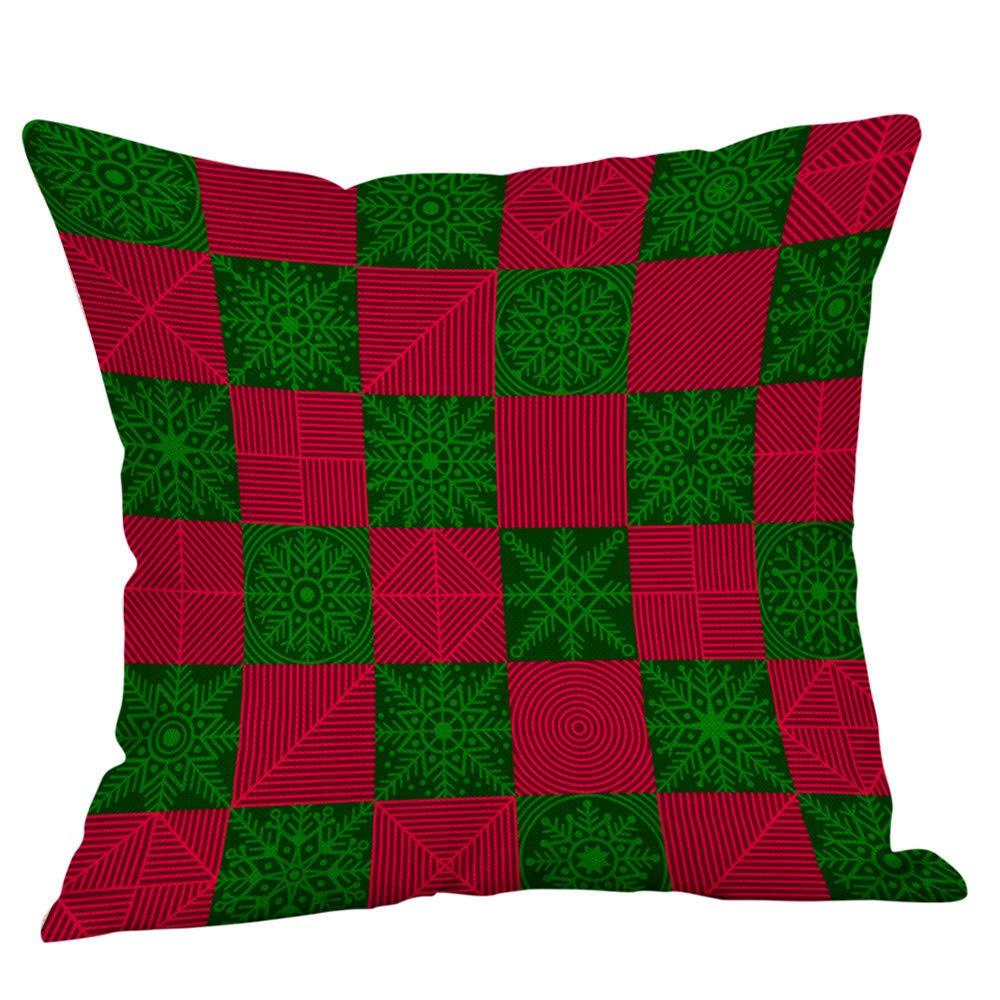 Classic Plaids Elk Cotton Linen Throw Pillow Cover, Comfortable Square Decorative Cushion Shams Pillowcase for Home Decor, 45 x 45cm, No Pillow Core (H) Promisen
