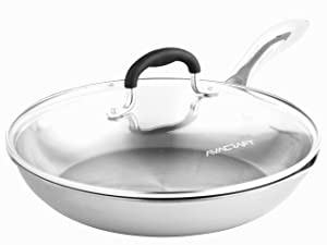 AVACRAFT 18/10 Tri-Ply Stainless Steel Frying Pan with Lid, Side Spouts, Stay Cool Handle, Induction Pan, Versatile Stainless Steel Skillet, Fry Pan in our Pots and Pans (Tri-Ply Full Body, 10 Inch)