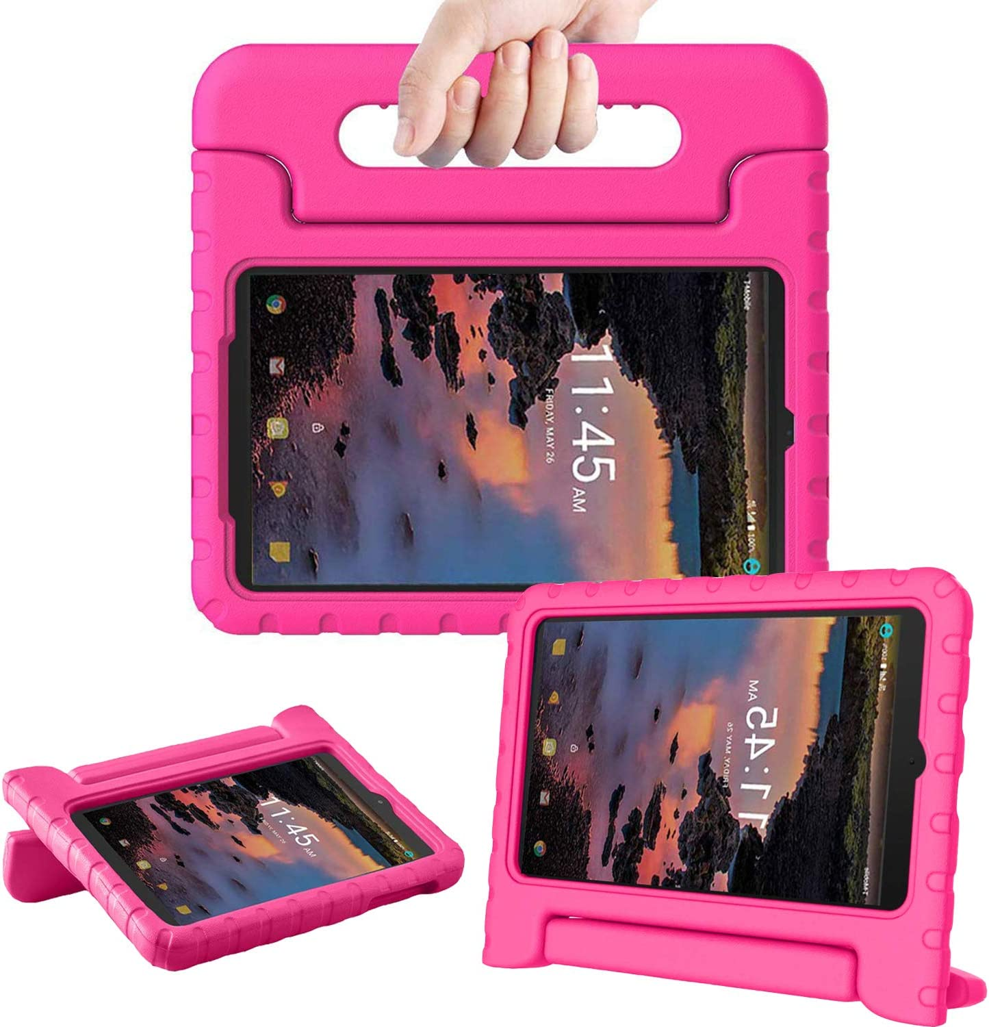 TIRIN Case for Alcatel Joy Tab 8/ Alcatel 3T/ A30 8 Tablet - Light Weight Shock Proof Convertible Handle Stand Kids Case for Alcatel Joy Tab 2019/ Alcatel 3T 2018/ Alcatel A30 2017 8-inch Tablet, Rose