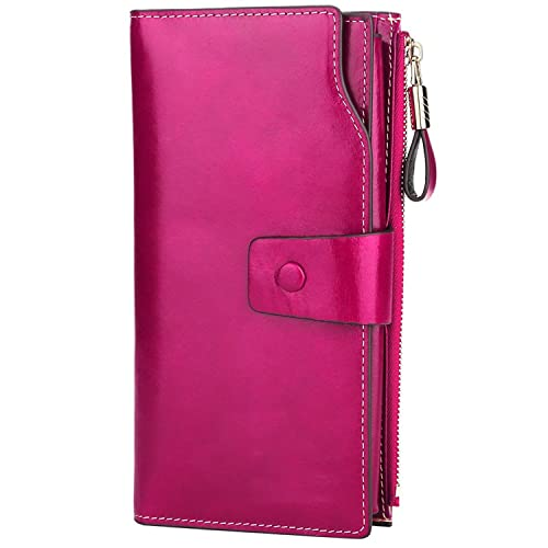 i2crazy Womens RFID Blocking Wallet Classic Clutch Leather Long Wallet Card Holder