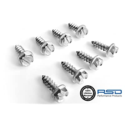 RSD License Plate Screws for Domestic Cars & Trucks Never Rust Stainless Steel (Slotted Hex): Automotive
