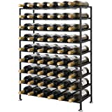 Smartxchoices 54 Bottle Large Stackable Wine Rack Solid Iron Foldable Sturdy Free Standing Champagne Cellar Storage Liquor Cabinet Wine Collection Display Stand