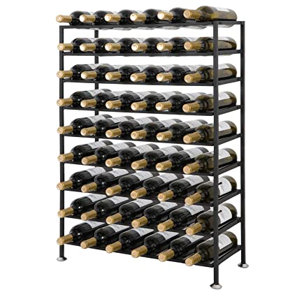 Amazoncom Smartxchoices 54 Bottle Black Solid Steel Wine Rack Free