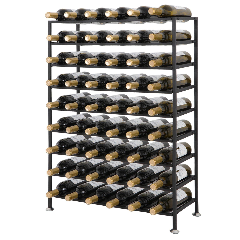 Smartxchoices 54 Bottle Black Solid Steel Wine Rack Free Standing Cellar Wine Storage Rack Organizer Shelves Kitchen Liquor Cabinet Wine Display Stand Holder (54 Bottles)