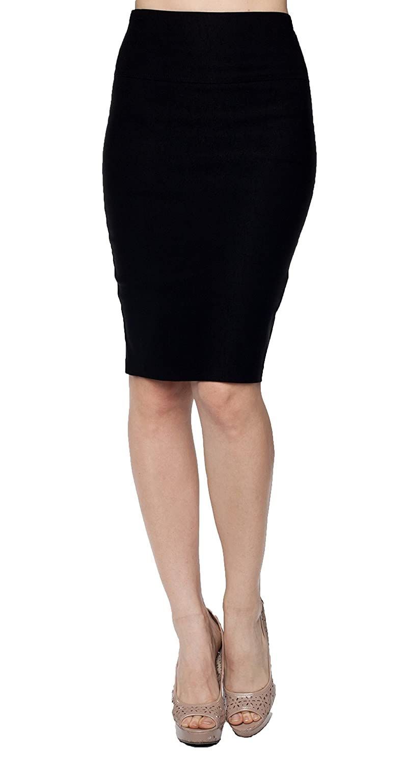 A.S High Waisted Millenium Pencil Knee Juniors Skirt with Bow