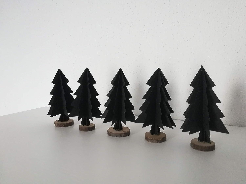 5er-Set Papierornamente'Tannenbaum' aus wahlweise schwarzem oder weiß em Papier/Christbaumschmuck//Fensterdeko//Weihnachtsbaum//Christbaumkugel