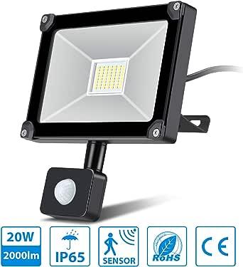 Oeegoo foco led con sensor de movimiento 20w alto brillo 2000lm 6000k, focos led exterior, Proyector LED exterior de impermeable IP65, lampara led con sensor, Iluminación led de Exterior y Seguridad