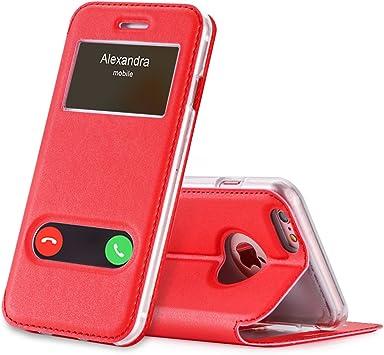 FYY Funda iPhone 6S Plus, Funda iPhone 6 Plus, De Soporte Magnetico en la Parte Cubierta y Funcion de Ventana con Vista a Pantalla Superior para Apple iPhone 6S Plus/6 Plus Rojo: