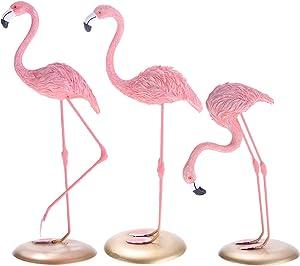 GAOBEI Resin Sculpture Figurine Statue Ornament Home Decoration Accessories Animal Flamingo Birds Statue for Living Room (Set of 3)