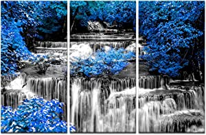 Visual Art Decor 3 Pieces Black and White Waterfall with Blue Trees Scenery Canvas Prints Home Living Room Large Modern Wall Decoration Ready to Hang (01 Blue, W-36 x H-24)