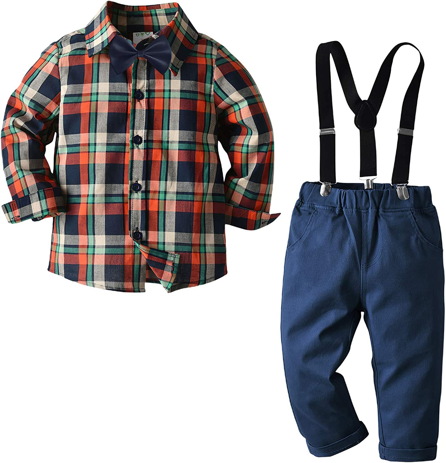 Kimocat Baby Boy Clothing Sets Plaid Suit Shirt Pants Bowtie Gentleman Outfit for Party Wedding