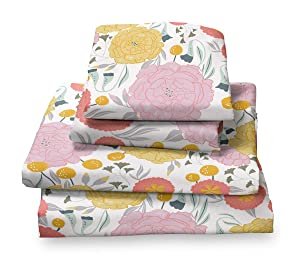 Where the Polka Dots Roam Light Floral Full Sheet Set, Soft Sheets for Deep Matresses, 4 Piece Full Size Set, Pink, Yellow, Seafoam Teal and Coral Flowers