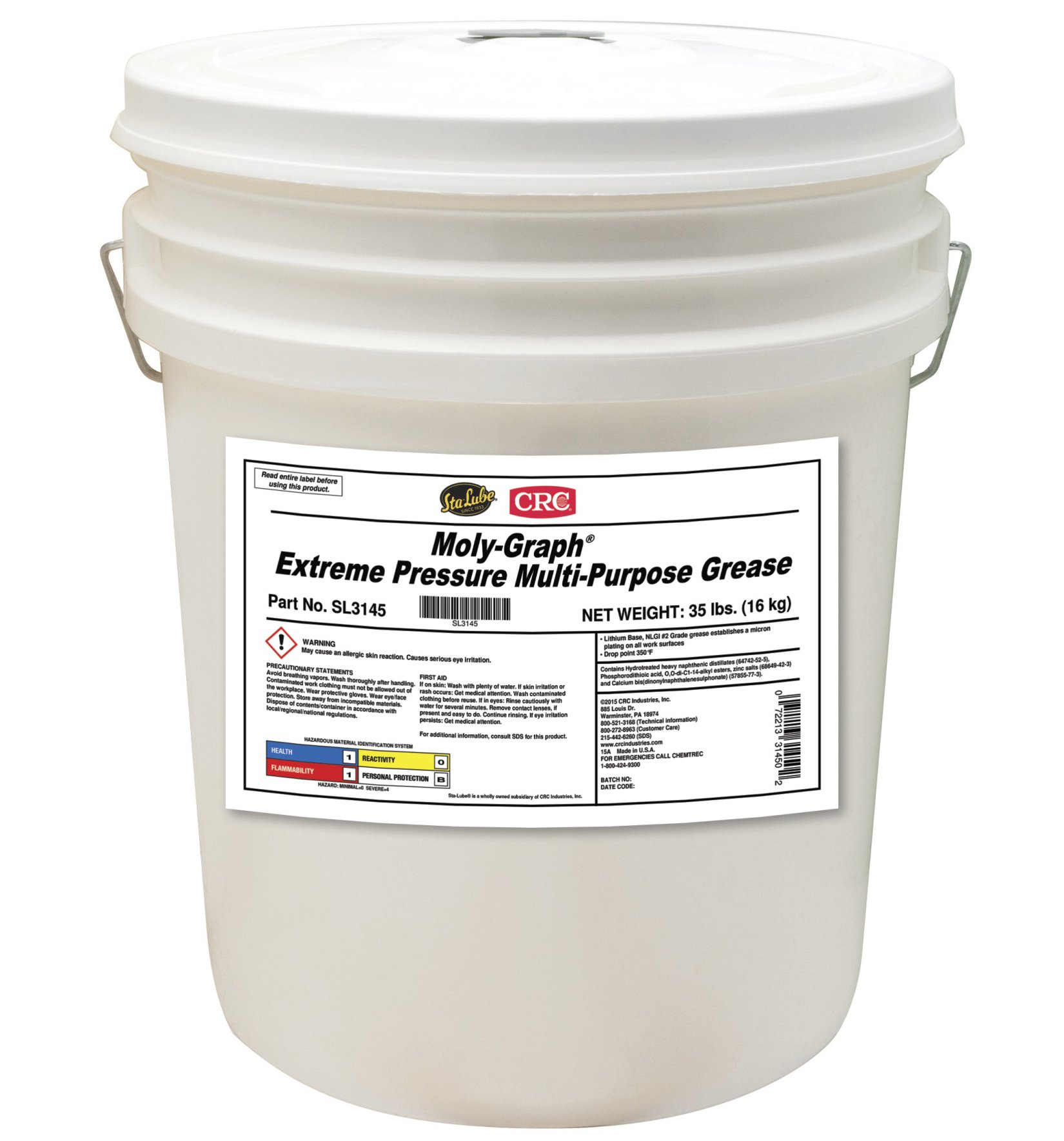 Sta-Lube SL3145 Moly-Graph Extreme Pressure Multi-Purpose Grease, 35 Lbs by Sta-Lube