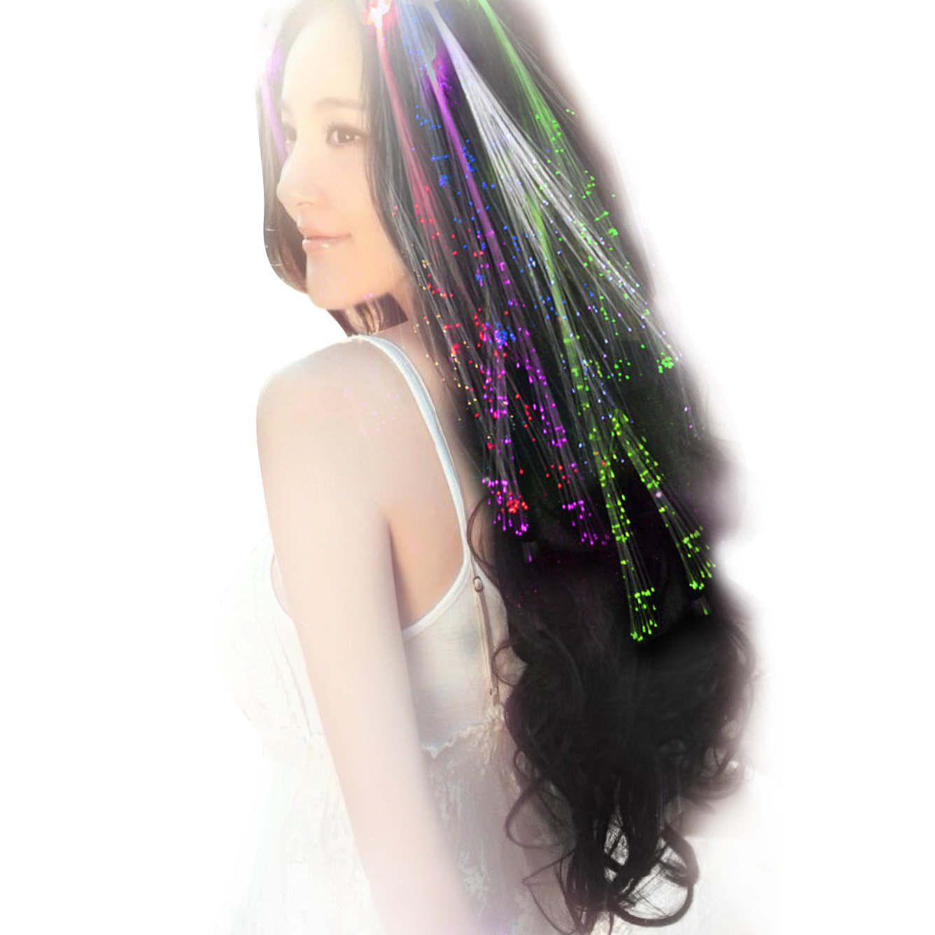 Acooe 10 Pack Led Multicolored Fiber Optic Lights Up Flashing Hair