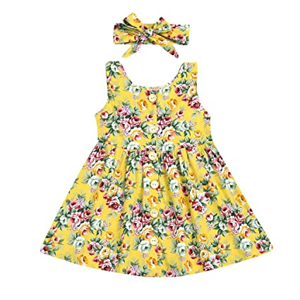 01bff373a Image Unavailable. Image not available for. Color: ❤ Mealeaf ❤ Toddler Kid  Baby Girl Sleeveless Floral Printed Party Princess Dress Clothes