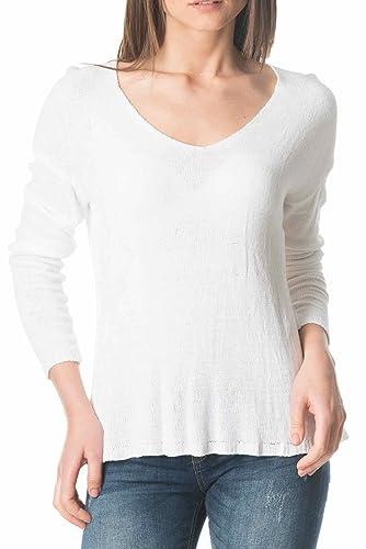 Laura Moretti - Jersey cuello de pico color blanco