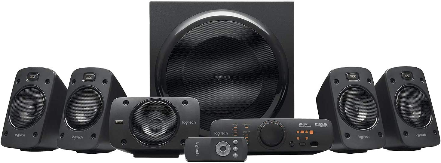 Logitech Z906 5.1 Sistema de Altavoces Sonido Envolvente THX, Certificado Dolby&DTS, 1000 W de Pico, Multi-Dispositivos, Entradas Audio Múltiples, Enchufe EU, PC/PS4/Xbox/TV/Móvil/Tablet