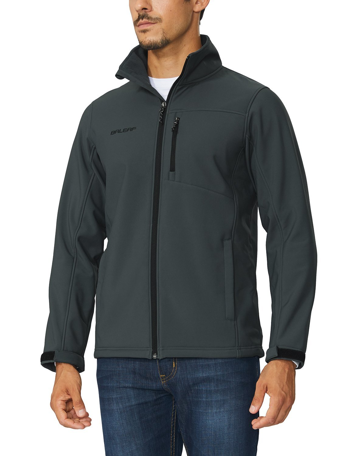 Baleaf Men's Waterproof Windproof Outdoor Softshell Jacket Microfleece Lined Gray Size M by Baleaf