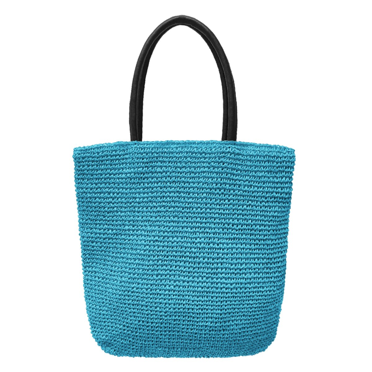 Crochet Tote Bag by Bambou, Fashion Purse Women, Beach Bag, Ladies Shopping Bag, 100% Recycled Material (Azure)