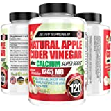 Apple Cider Vinegar Tablets (100% Pure - 1245mg Plus Calcium Superboost) 120 Pills - ACV is Perfect for Body Dexot, and…