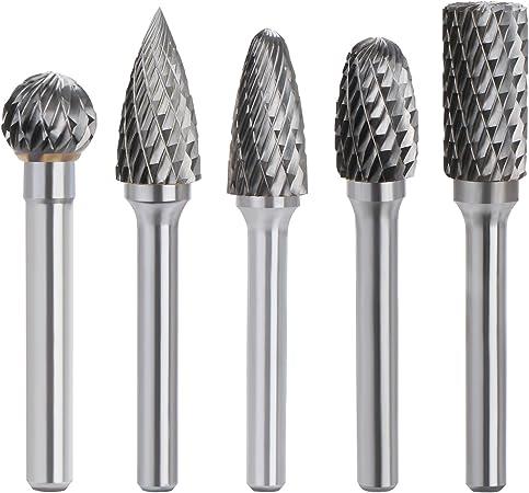 10Pc Head Tungsten Steel Solid Rotary Burr Die Grinder Bit 3mm Shank Carving Set