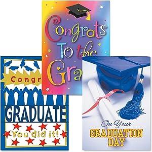 "Graduation Greeting Cards - Set of 6 (3 Designs), Large 5"" x 7"", Graduation Cards with Sentiments Inside, Gold Envelopes"