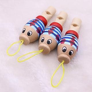 STOBOK 3pcs Fischi di Animali in Legno Suoni di Musica per Bebè per Bambini Bomboniere (Colore Casuale)