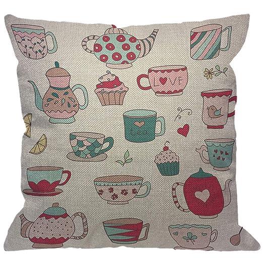 Doodle Cups - Funda de cojín decorativa, tetera y cupcakes ...
