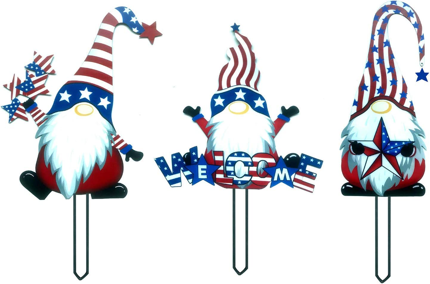 Steel Branch Gnomes Decoration, Faceless Doll Decoration Steel Garden Gnomes Independence Day Decor ,Patriotic 4th of July Garden Pile Courtyard Art Decoration Branch Ornaments for Home Yard Outdoor